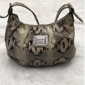 NICOLE MILLER SNAKESKIN SHOULDER PURSE